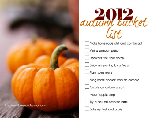 2012 autumn bucket list